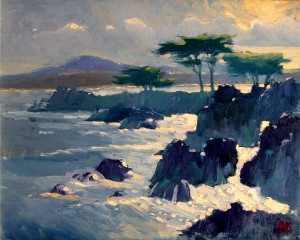 """Lovers Point"", Catalog# 590, Oil on Canvas, 20""x16"". Early morning sun rises over the distant mountains and lays down brilliant light on the bay and surf at Lovers Point, Pacific Grove, California."